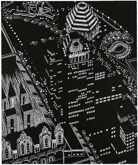 Yvonne Jacquette 2002 art, a city at night from a birdseye view