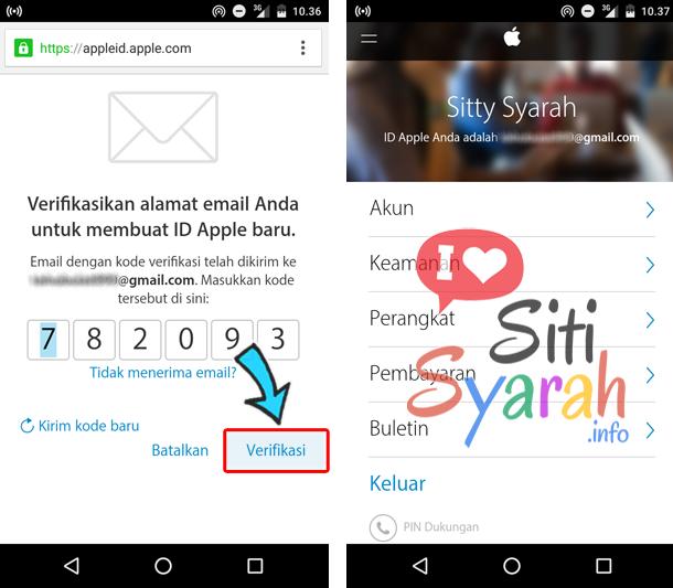 cara buat apple id baru di Android