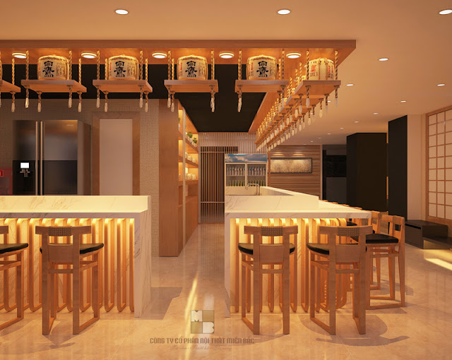 Mẫu thiết kế nhà hàng chuyên nghiệp được bố trí thêm không gian quầy bar nhằm phục vụ những nhu cầu ăn và uống đa dạn