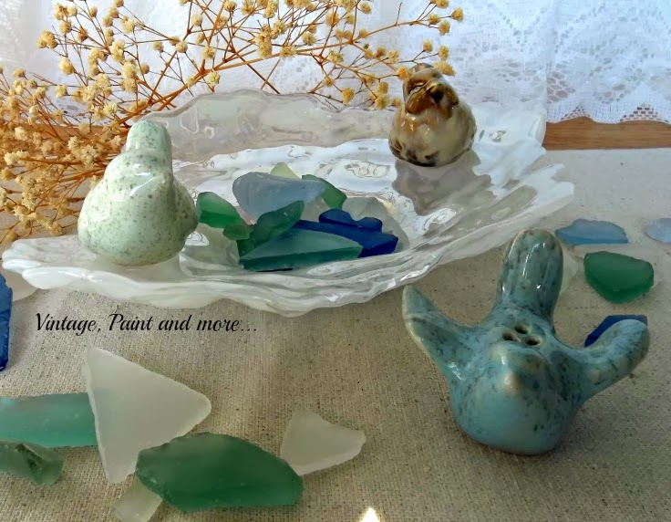 Waiting for Spring - Image of birds with beach glass