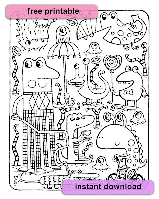 black and white picture of silly monsters for coloring in