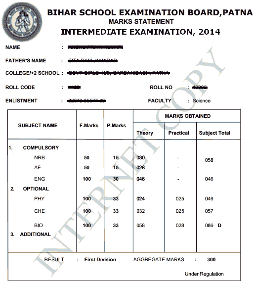 bseb inter 2014 result marks sheet