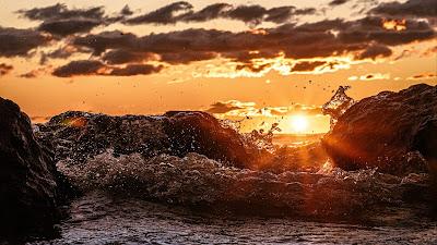 Wallpaper Waves, Sunset, Rocks, Clouds HD