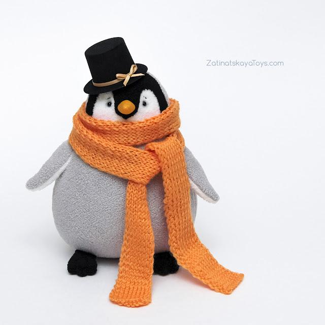 красивый пингвин мягкая игрушка из флиса сделан своими руками по выкройке Затинацкой Натальи