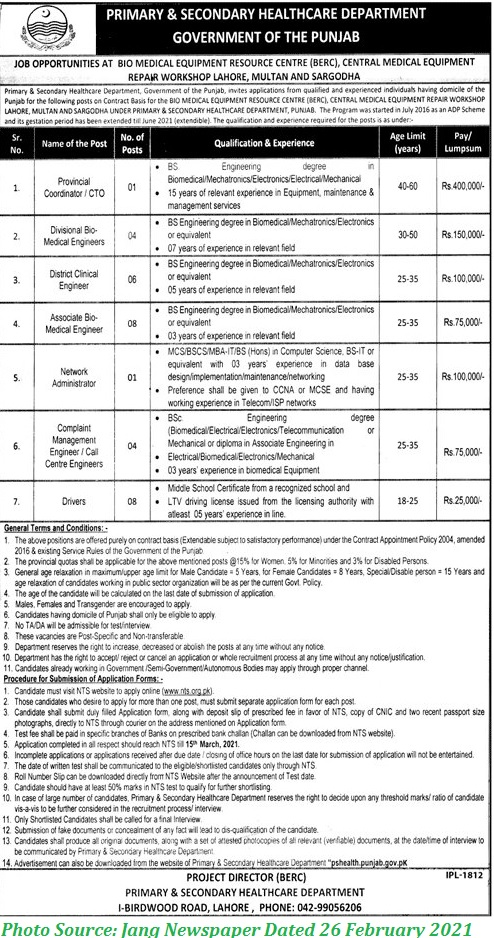 Helath Department Govt of Punjab Jobs 2021 Latest NTS Jobs Download Application forms