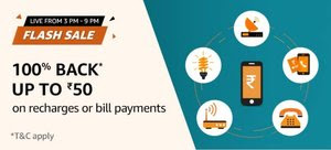 Amazon Flash Sale Recharge Offer - Get Up To Rs.50 Cashback