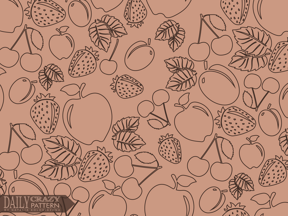 "Monochrome pattern with fruites for ""Daily Crazy Pattern"" project"