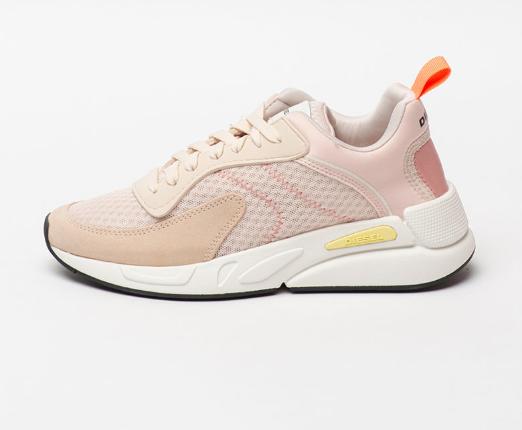 Diesel Pantofi sport femei roz de piele intoarsa ecologica, cu insertii de plasa
