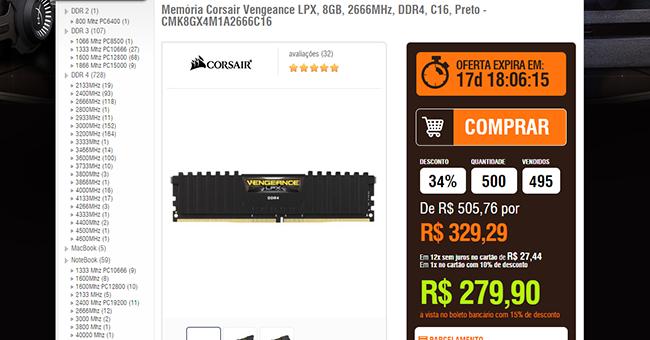 Memória Corsair Vengeance LPX, 8GB, 2666MHz, DDR4, C16, Preto - CMK8GX4M1A2666C16