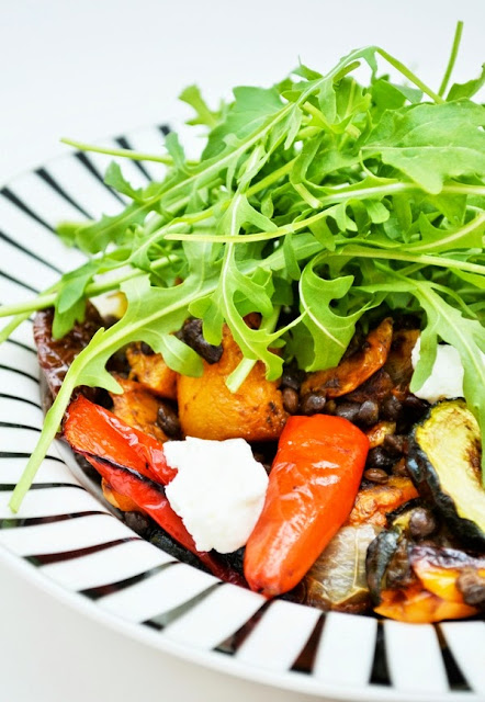 Roast butternut squash, pepper and puy lentil salad