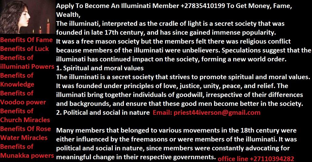 Join Illuminati @ The Main Temple +27835410199 In ...