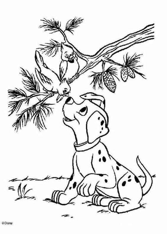 Tranh tô màu chú chó nói chuyện với hai chú chim