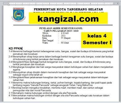 Soal UAS/UKK/PAS/PAT Kelas 4 Semester 1 Tema 1 Tema 2 Tema 3 Tema 4 Tema 5 Terbaru 2019/2020 kangizal.com