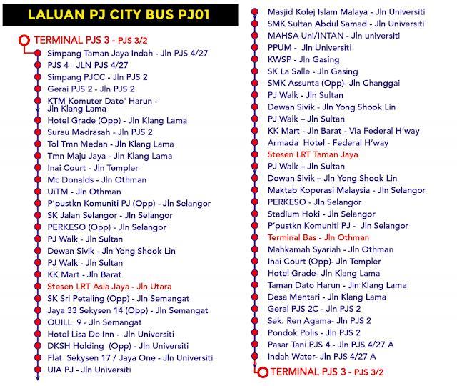 Laluan PJ City Bus PJ01 Bas Percuma