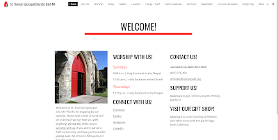 A screen capture of the new parish website