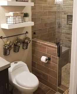 Desain kamar mandi minimalis cokelat