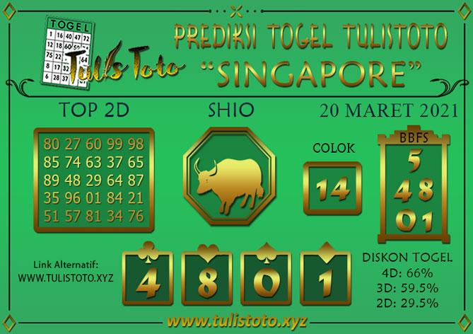 Prediksi Togel SINGAPORE TULISTOTO 20 MARET 2021