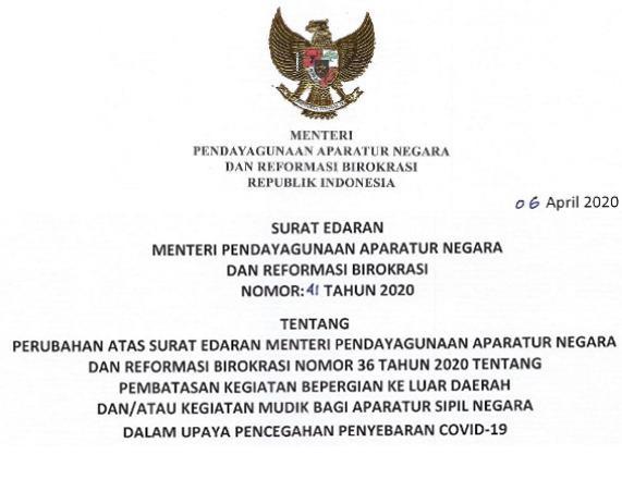 Larangan Mudik ASN Surat Edaran MENPANRB No 41 Tahun 2020