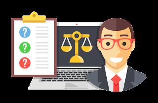 Imagen de tabla, ordenador y abogado en caricaturas