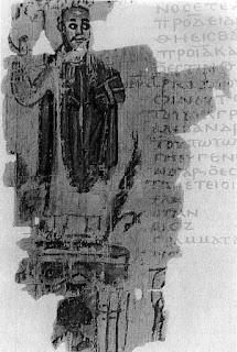 Fragmento de una página de códice en b/n, con una imagen de Teófilo
