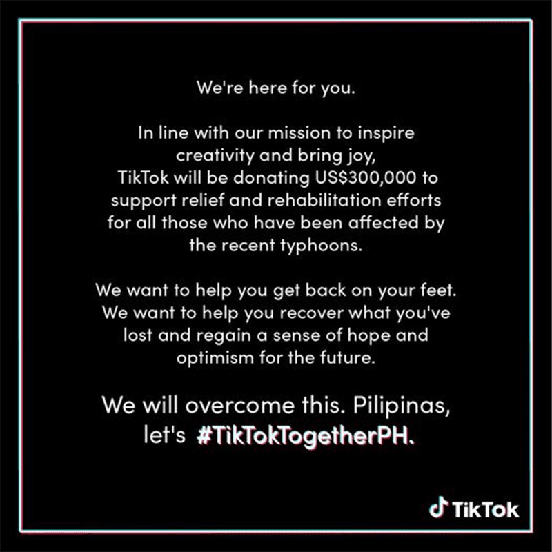 TikTok will donate USD 300,000 to help typhoon victims in the Philippines