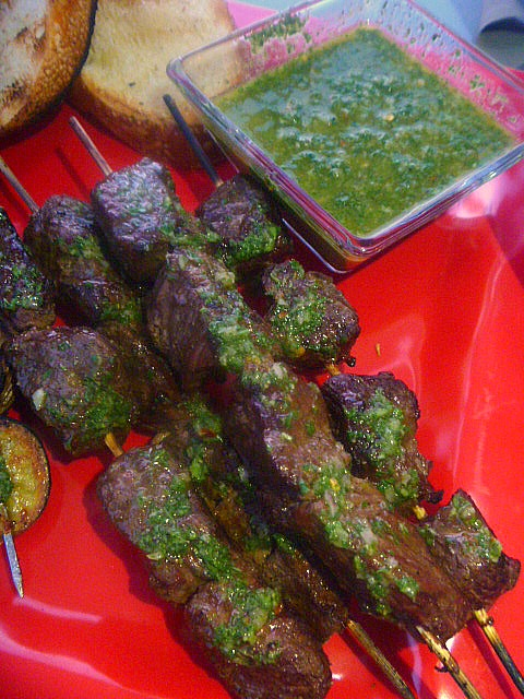 Steak and Potato Kabobs with Chimichurri Sauce: Tender steak and potato kabobs doused with a refreshing chimichurri sauce is just what the doctor ordered for summertime grilling! - Slice of Southern