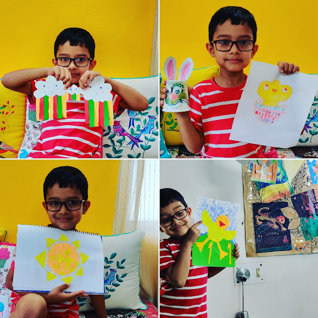 N with his art and craft projects done in his homeschool