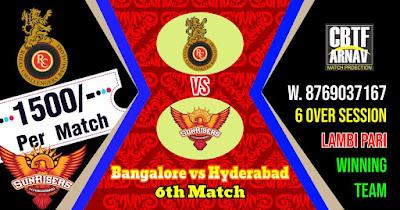 6th Match SRH vs RCB IPL 2021 Today Match Prediction 100% Sure Winner