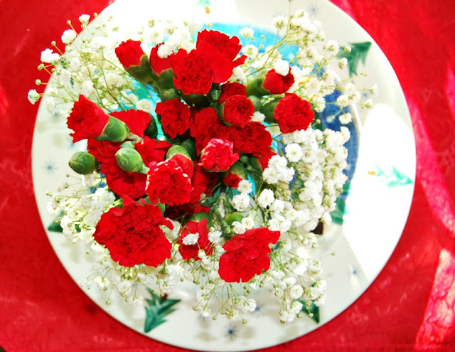 baby's breath, red carnations, red tablecloth, floral bouquet, athomewithjemma