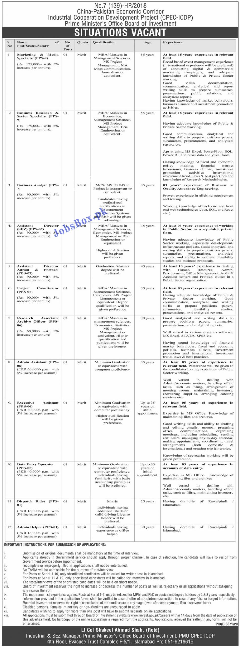 CPEC Jobs 2021 | Board of Investment Government of Pakistan Jobs 2021