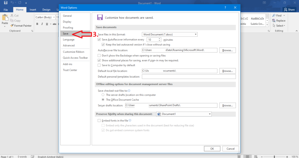 how to enable autosave in Microsoft Office