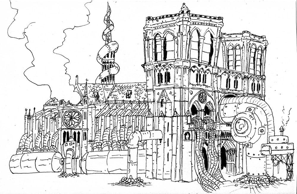 Concept art del videojuego de Gametopia Allan Poe´s Nightmare