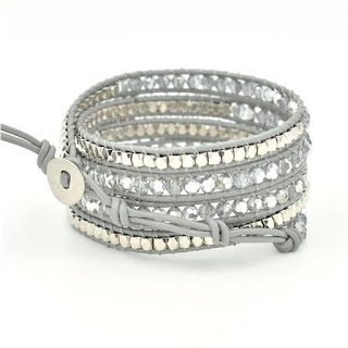 Here Crystal Faceted Leather Wrap Bracelet $23 (reg $75) - see more colors here.