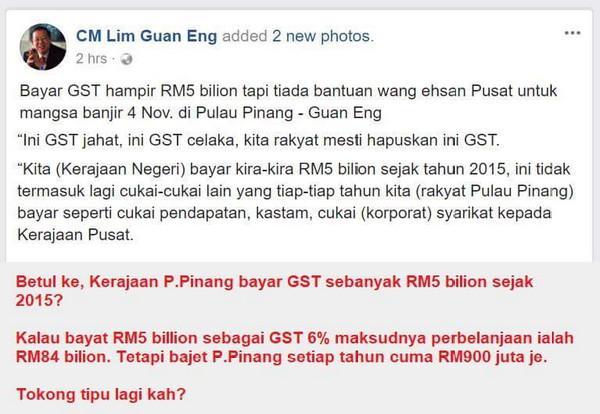 Bajet Tahunan Kerajaan DAP Pulau Pinang RM900 Juta Setahun Tapi Tokong Berbohong Kata Bayar GST RM5 Bilion Setahun