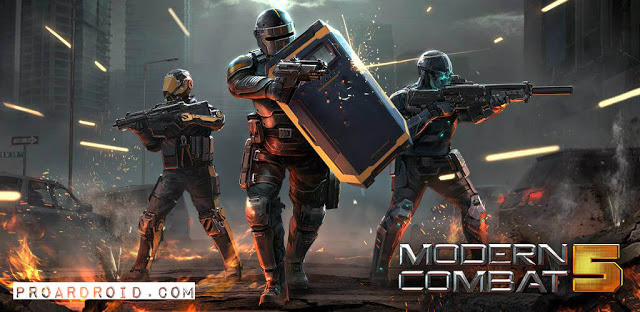 تحميل لعبة اطلاق النار والاثارة الممتعة Modern Combat 5 النسخة المهكرة للاجهزة الاندرويد باخر تحديث مجانا برابط مباشر سريع .