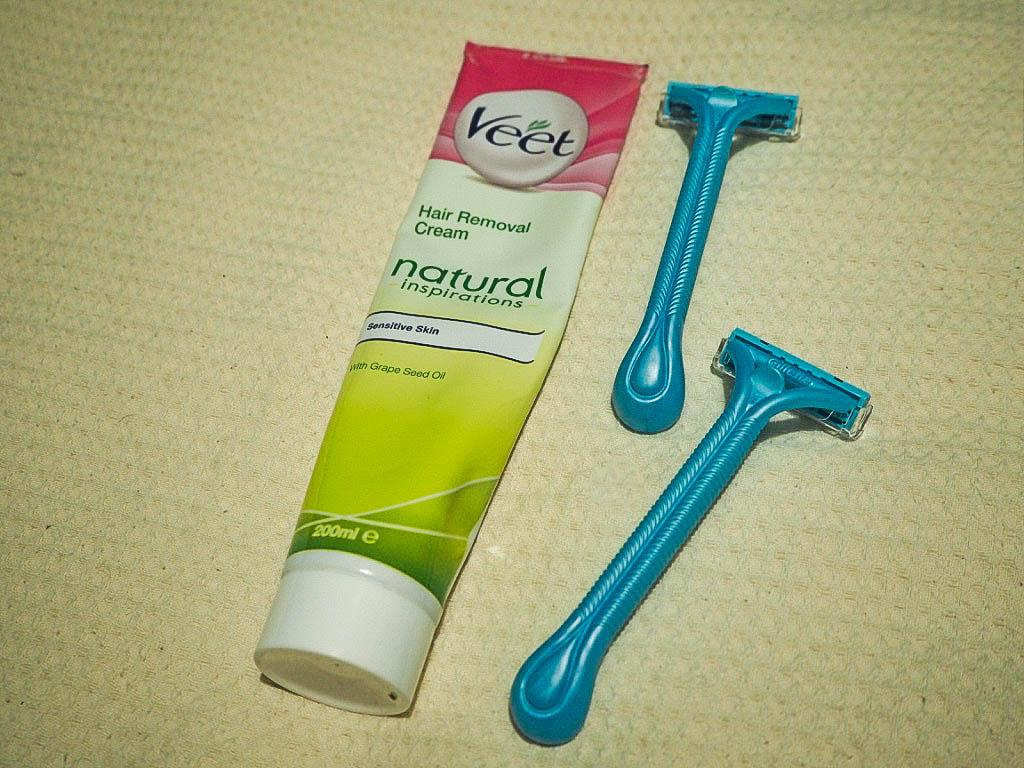 Hair removal cream, disposable razors