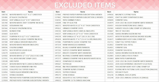 Excluded items from 24-hour sale
