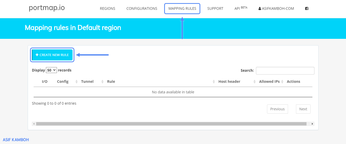 Go to the Mapping Rules menu and click Create New Rule.