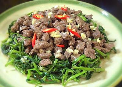Thịt trâu xào rau muống món ăn ngon