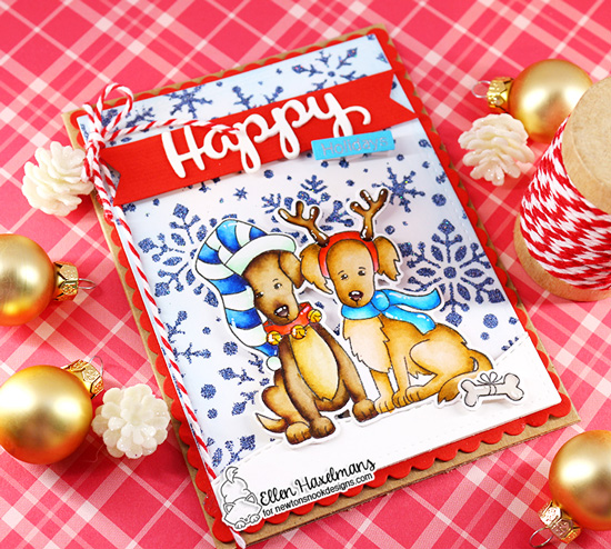 Newton's Nook Designs & WOW Embossing Powders Inspiration Week - Holiday dog card by Ellen Haxelmans | Happy Howl-idays Stamp Set and Snowfall Stencil Set by Newton's Nook Designs with embossing powder by WOW! #newtonsnook #wowembossing