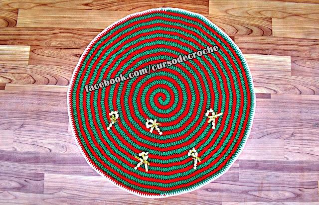 aprender croche edinircrochevideos tapete natal espiral curso de croche facebook