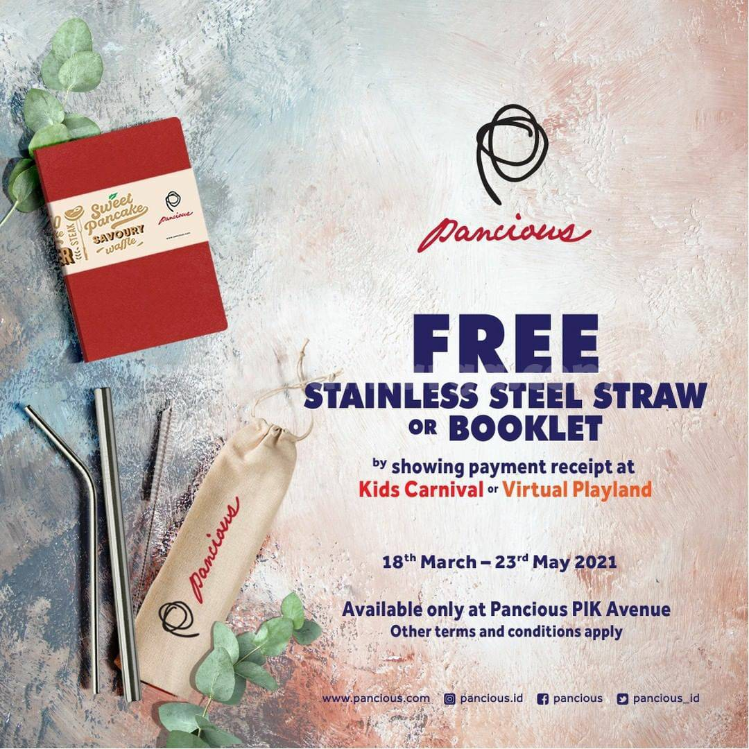 PANCIOUS Promo Free Stainless Steel Straw or Booklet