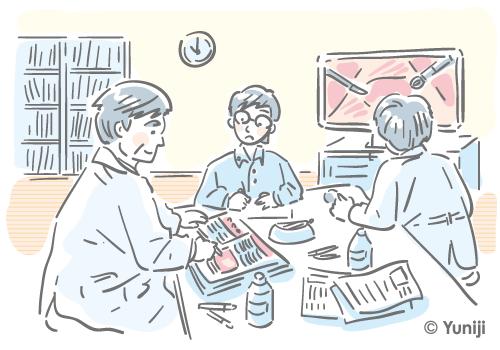 外科医が持続的集中力で校正作業を行う様子のイラスト
