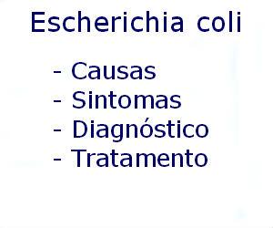 Escherichia coli causas sintomas diagnóstico tratamento prevenção riscos complicações