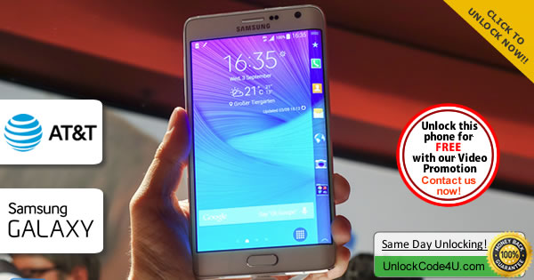 Factory Unlock Code Samsung Galaxy Note Edge from At&t
