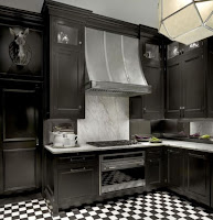 Traditional kitchen with black cabinet
