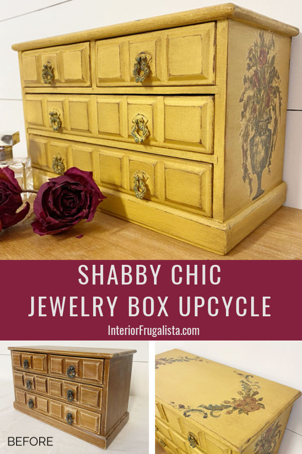 How to give a wooden thrift store vintage jewelry chest of drawers a shabby chic makeover and get instant wow factor with decor transfers and dark wax. #jewelryboxmakeover #upcycledjewelrybox #vintagejewelrybox #diygiftidea
