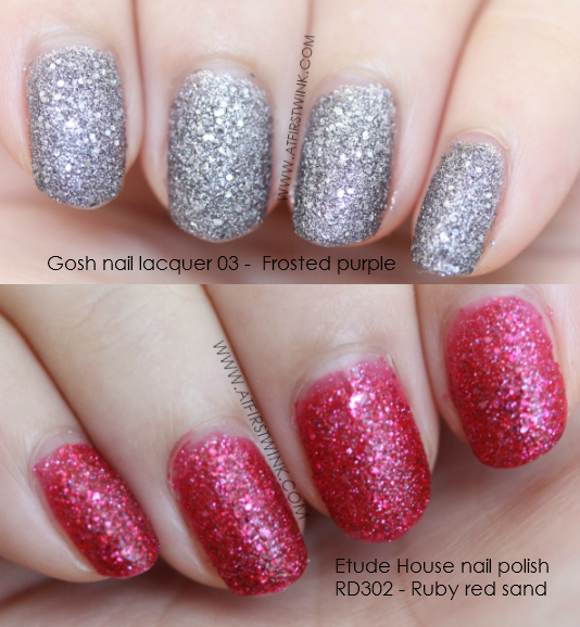 Gosh nail lacquer 03 - Frosted purple compared to the Etude House nail polish RD302