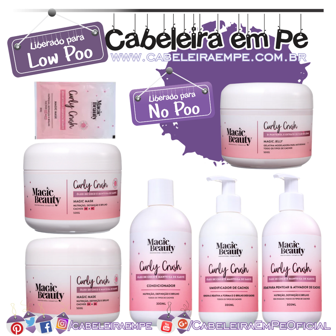Condicionador, Máscaras, Sachê, Creme para Pentear e Umidificador (Low Poo) e Gelatina (No Poo) Curly Crush - Magic Beauty