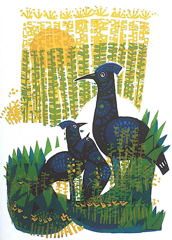 a David Weidman illustration of wild pheasant or birds in a field